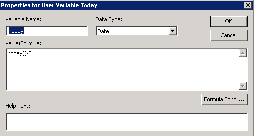 Here is my Today user variable