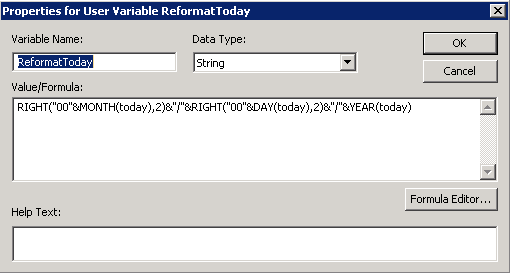 Here is our ReformatToday Variable